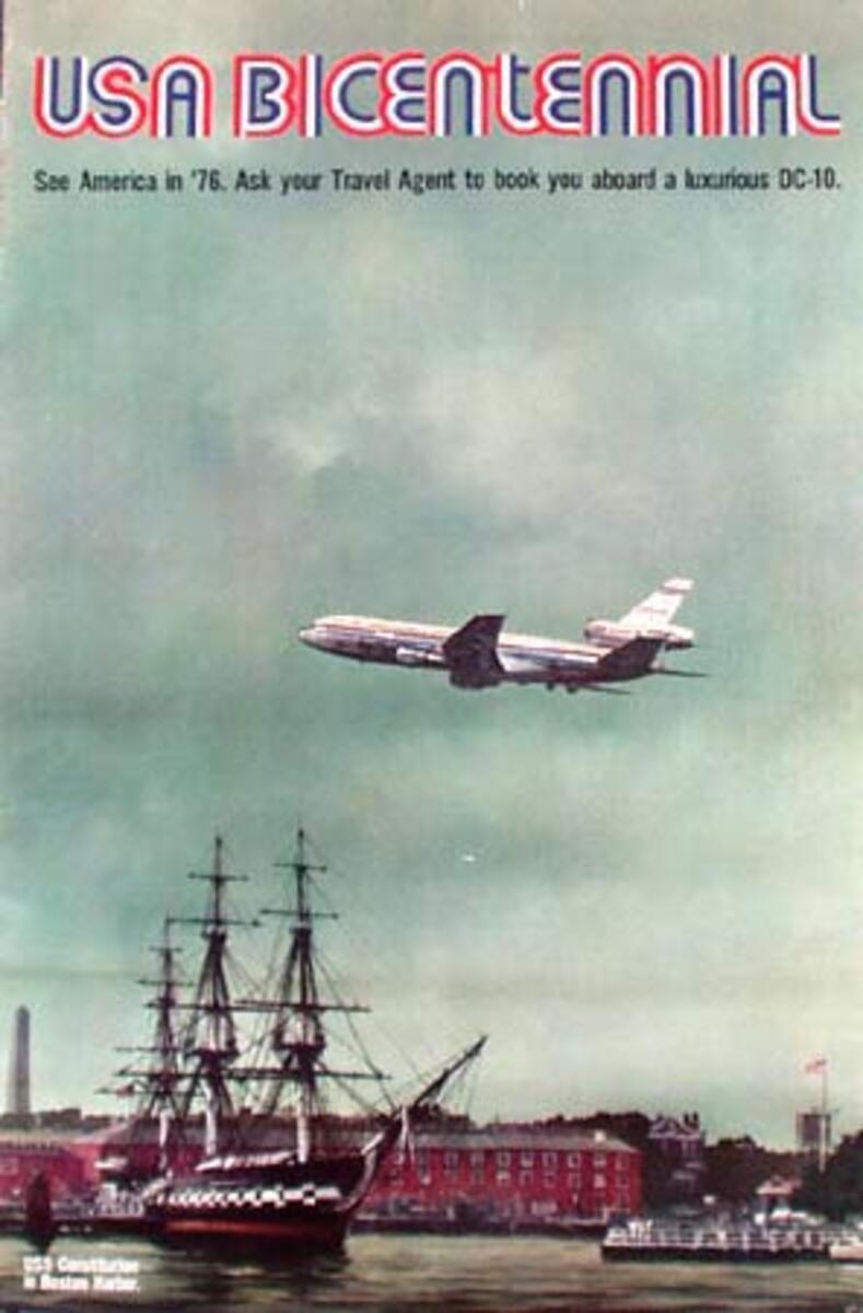 Original Vintage American Travel Poster Bicentennial DC-10