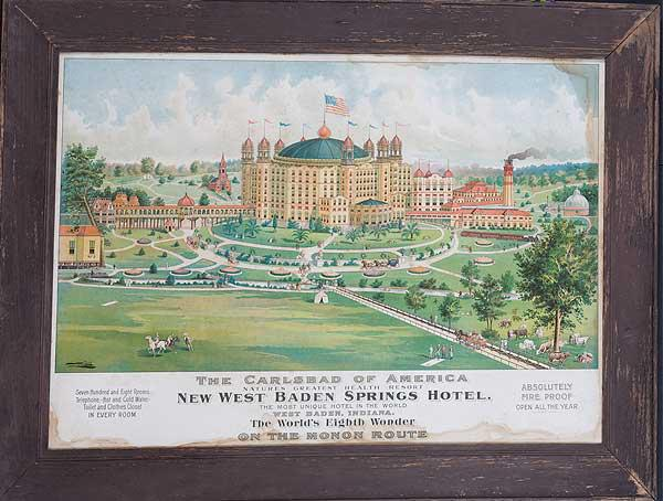 The Carlsbad of America New West Baden Springs Hotel Original American Travel Poster