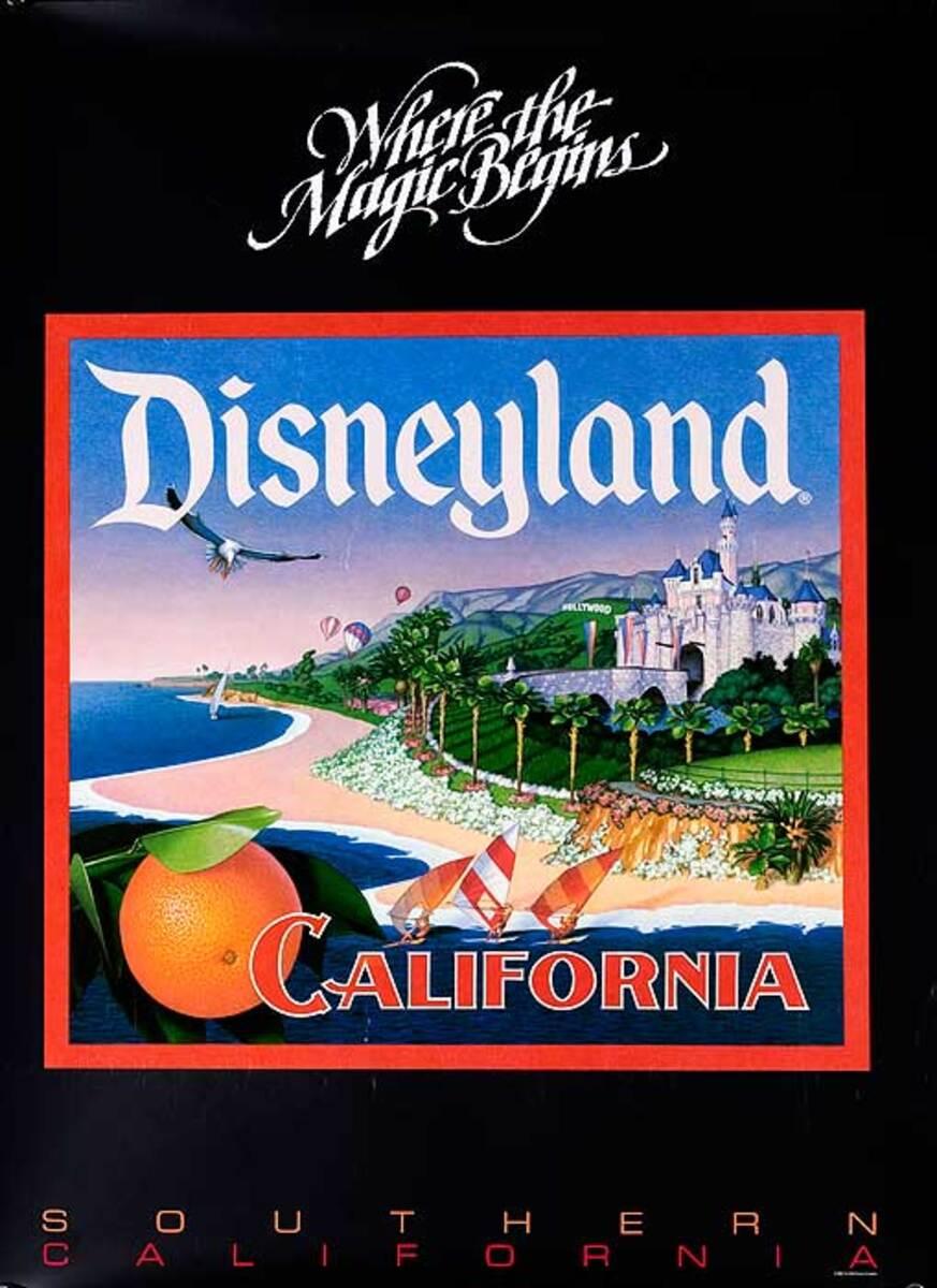 Where The Magic Begins Disneyland California Original Travel Poster