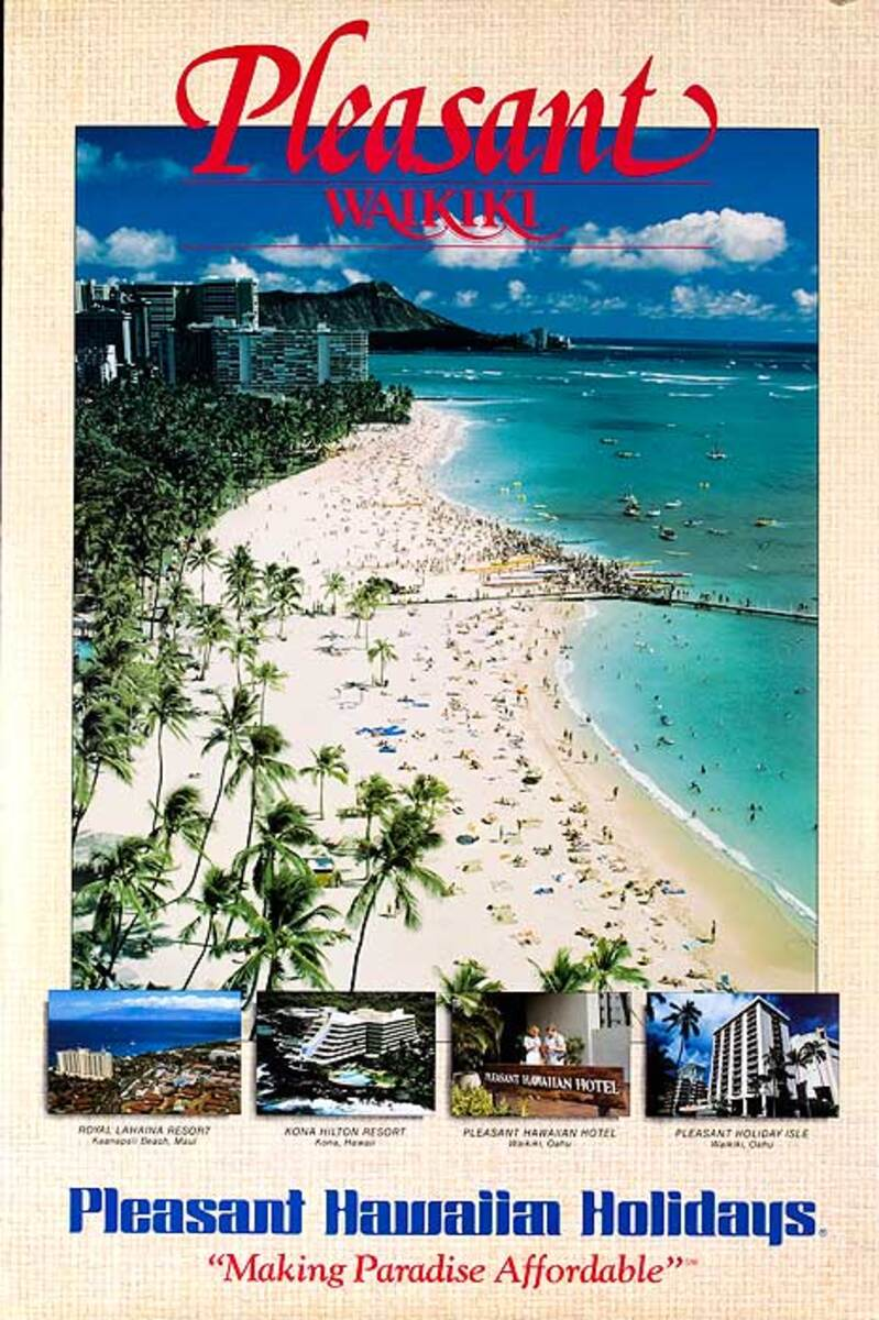 Pleaseant Waikiki Original Travel Poster