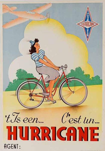 Hurricane Bicycles Original Vintage Poster