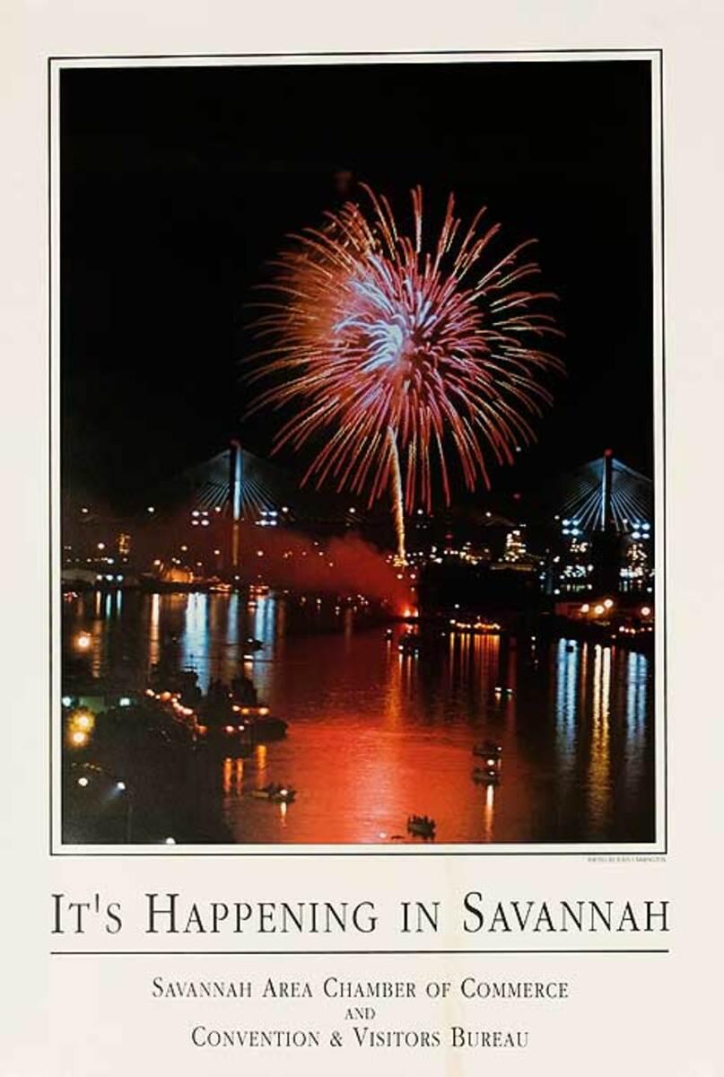 It's Happening in Savannah Original Travel Poster Fireworks