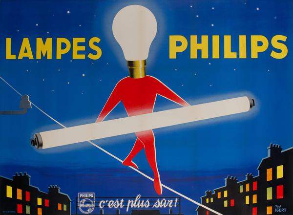 Lampes Philips Flourescent Light Bulb Tightrope Walker Original Vintage Poster