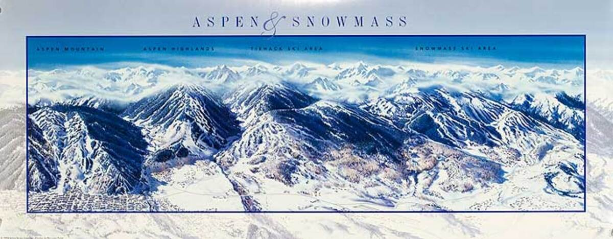 Aspen and Snowmass Original American Ski Travel Poster