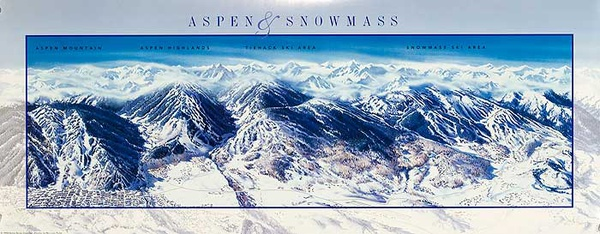 Aspen and Snowmass Original American [[Ski]] Travel Poster