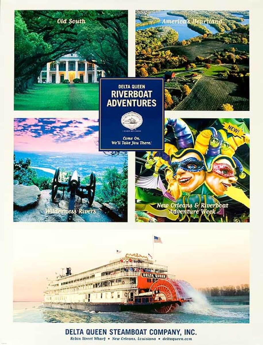Delta Queen Riverboat Adventures Original American Travel Poster