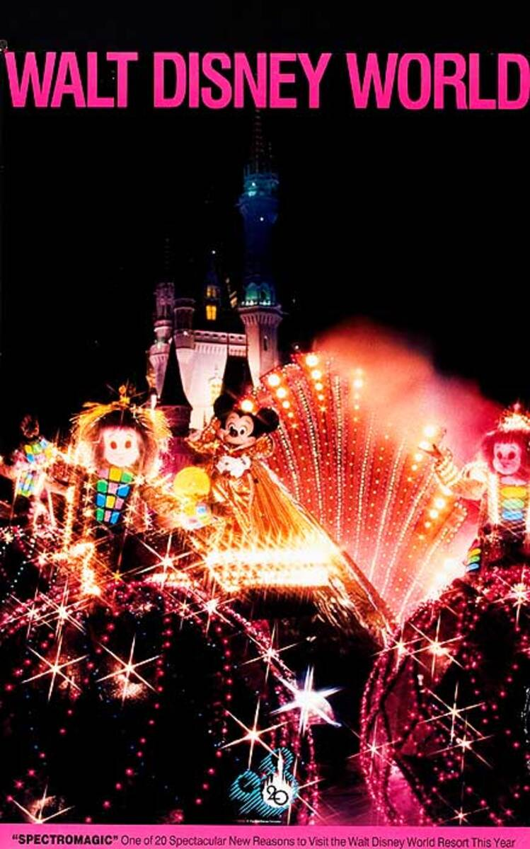 Walt Disney World Original American Travel Poster Fireworks