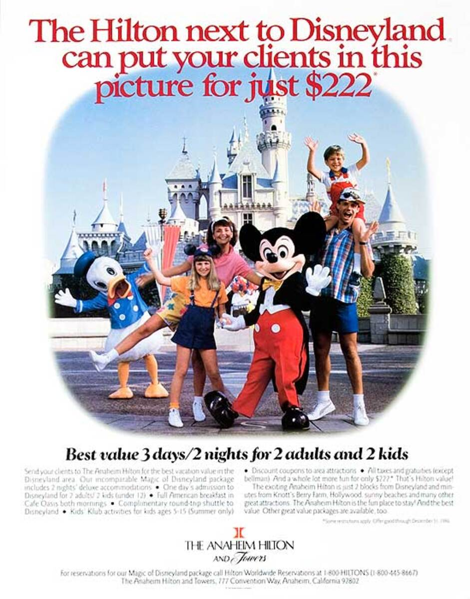Disneyland Original American Travel Poster Anaheim Hilton