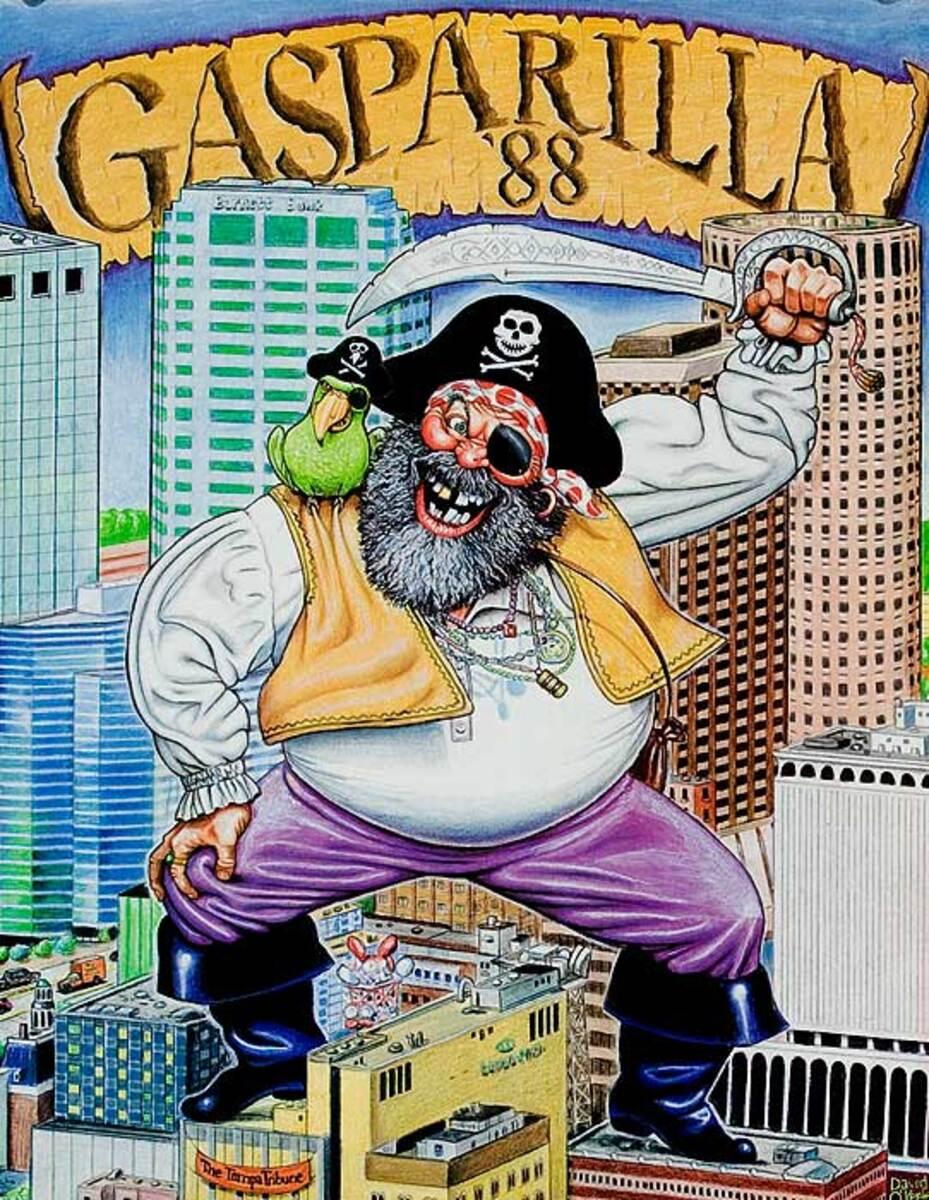 Gasparilla '88 Original Tampa Florida Travel Poster