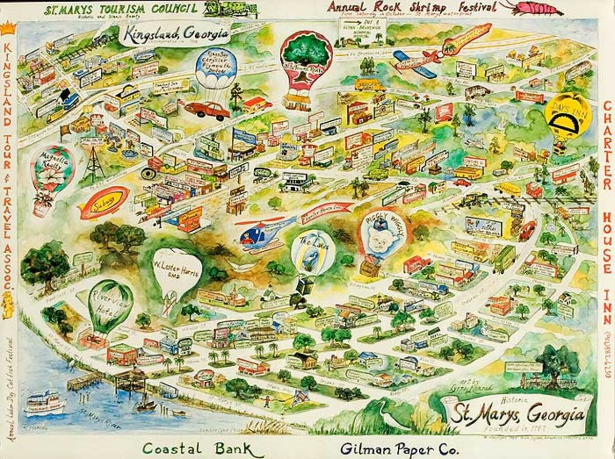 Kingsland and St Marys Georgia Original American Travel Poster