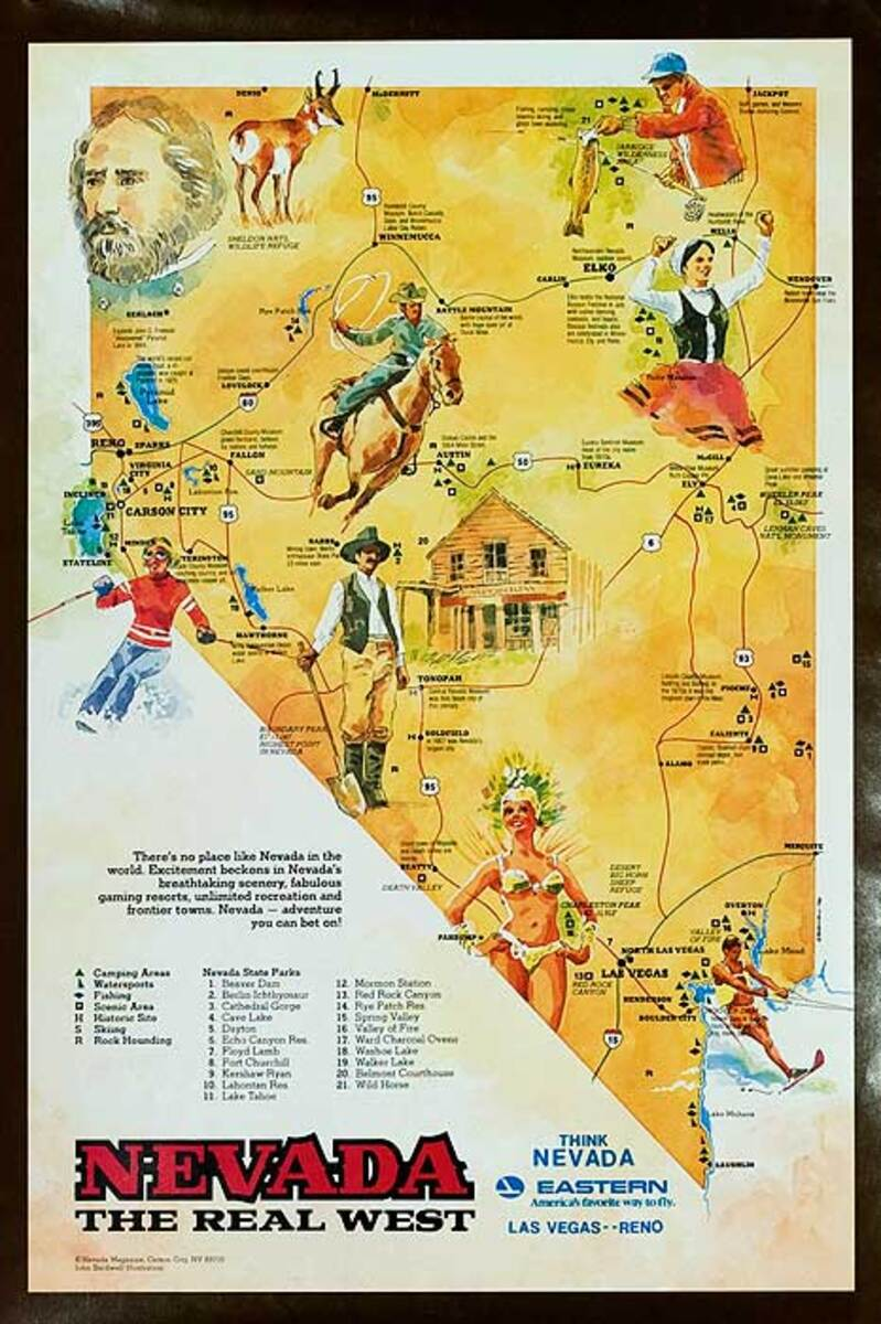 Nevada The Real West Original Eastern Airlines Travel Poster