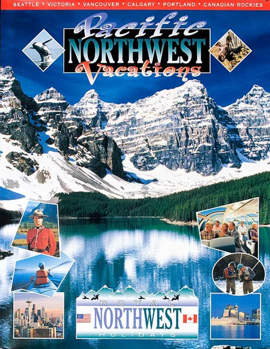 Pacific Northwest Vacations Original American Travel Poster