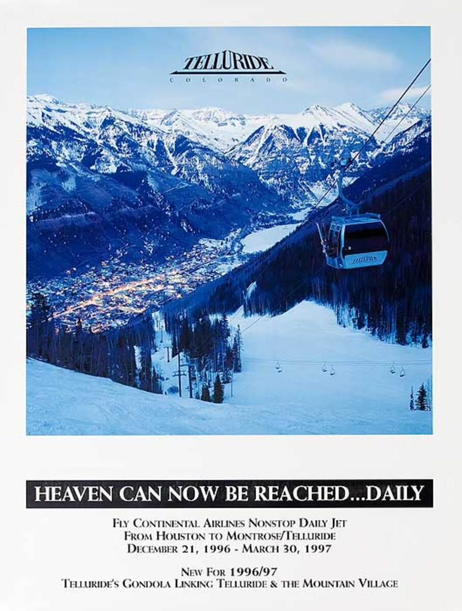 Heaven Can Be Reached Daily Tellurie Colorado Original American Travel Ski Poster