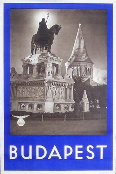 Budapest Original Travel Poster Statue