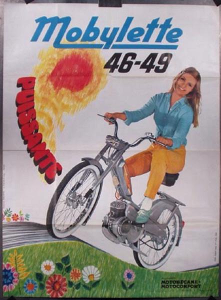 Mobylette Scooter Original Vintage Poster