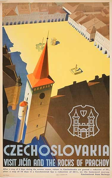 Czechoslovakia Rocks of Prachov Original Vintage Travel Poster