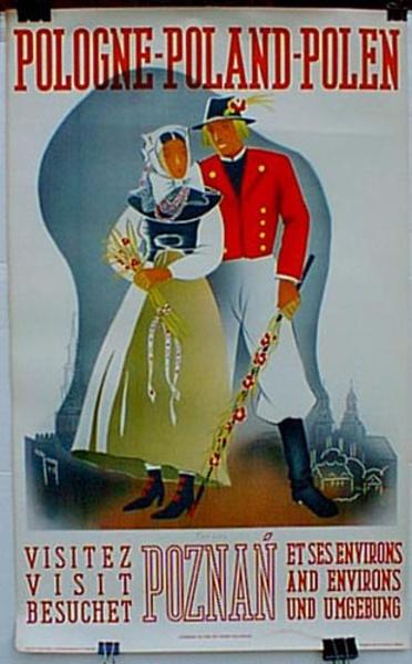Poland Poznan Original Vintage Travel Poster