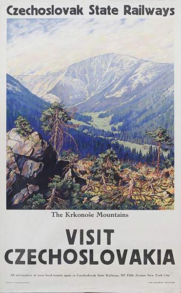 Visit Czechoslovakia Czechosloval State Railways The Krkonose Mountains Original Travel Poster