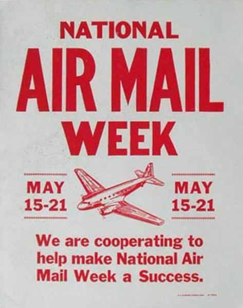 Original Vintage Air Mail Week Poster
