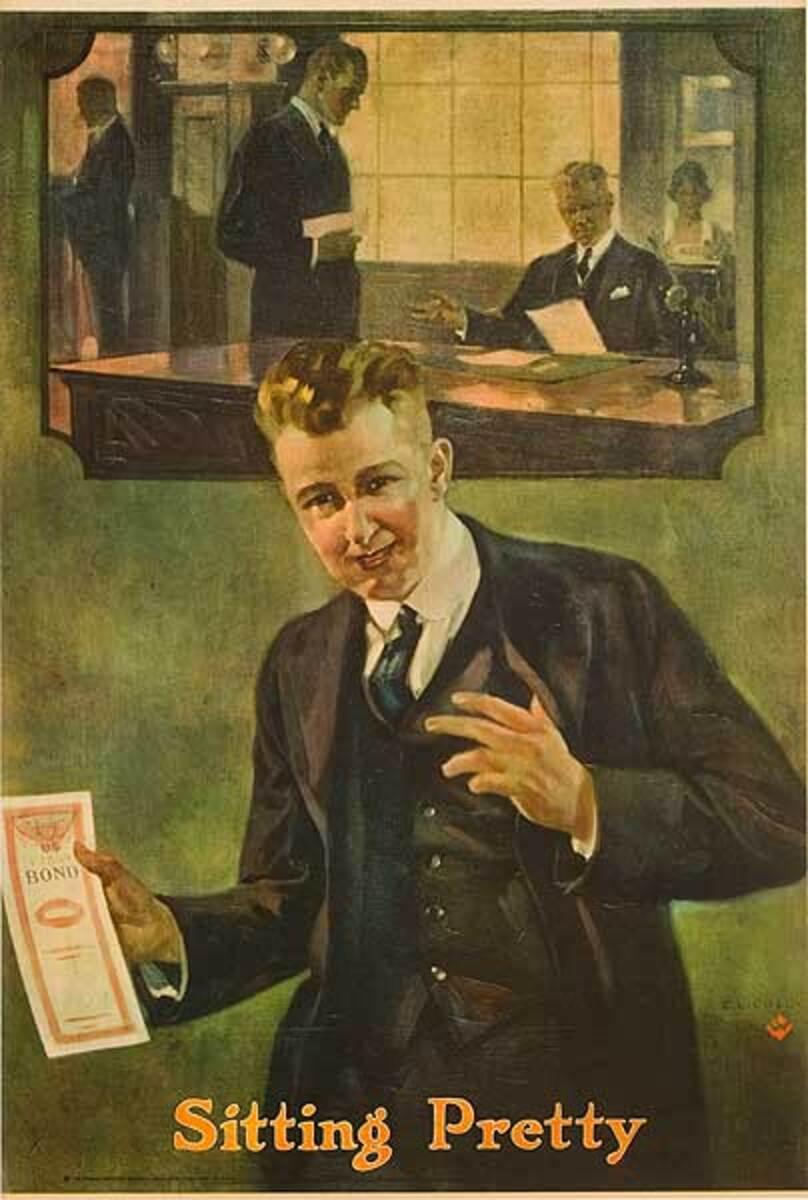 Original American Bank Poster Sitting Pretty