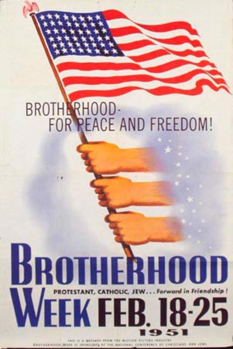 1951 Brotherhood Week Original Vintage Poster