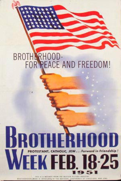 1951 Brotherhood Week Original Vintage Poster