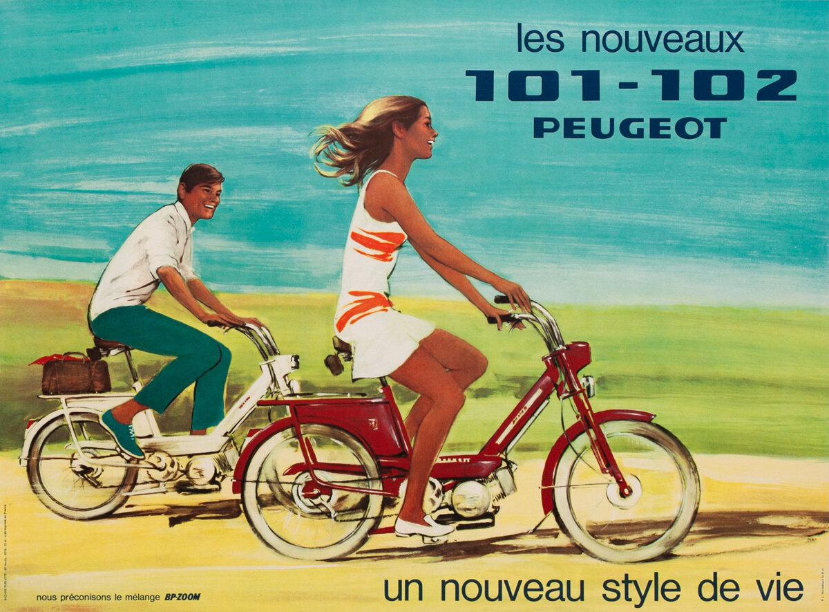 Peugeot 101-102 Scooter Original Vintage Poster