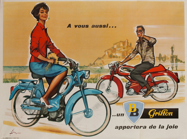 Peugeot BB Scooter Original Vintage Poster Red Sweater