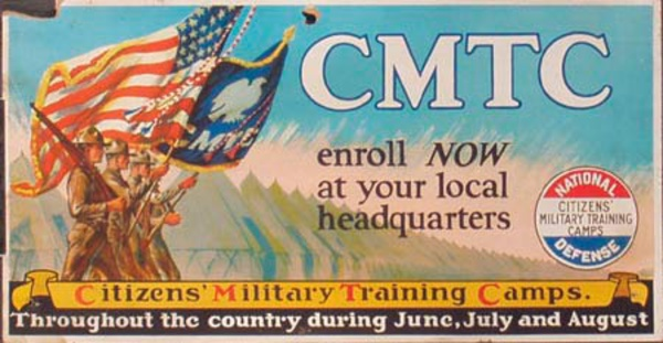Citizens Military Training Camps depression era trolly card Original Vintage poster