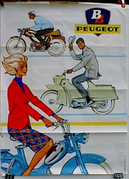 Peugeot BB Vertical Scooter Original Vintage Poster