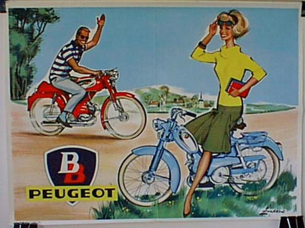 Peugeot BB Scooter Original Vintage Poster Yellow Sweater