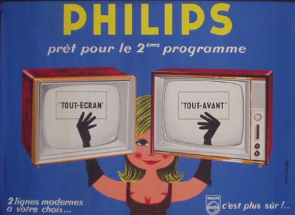 Philips TV  babe with 2 TV's Original French Advertising Poster