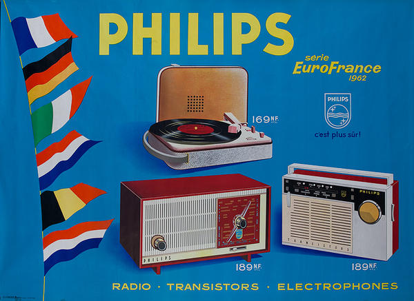 Philips Radio Turntable Original Vintage French Advertising Poster Flags