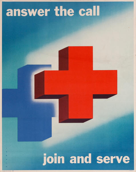 Red Cross Original Public Service Poster Answer The Call Join And Serve