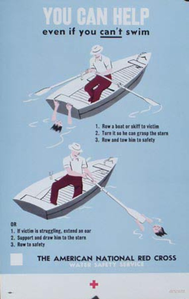 Red Cross Original Public Service Poster You Can Help even If You Can't Swim