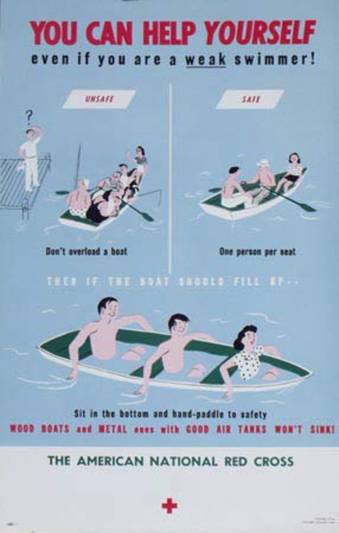 Red Cross Original Public Service Poster You Can Help Yourself Even If You Are a Weak Swimmer