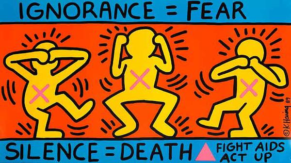 Ignorance = Fear Silence + Death Fight Keith Haring Aids Act Up Original Fight Aids Protes Poster