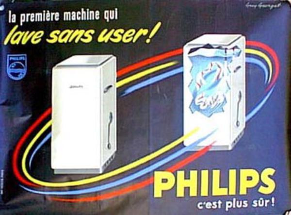 Philips Washing Machine Original Vintage Poster