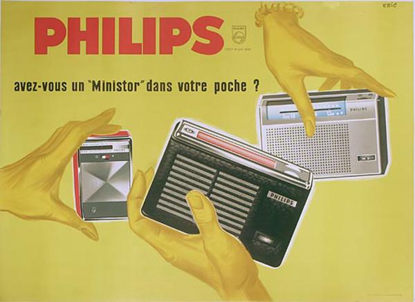 Philips Transistor Radios Yellow Hands Original French Advertising Poster