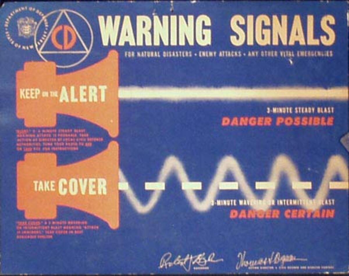 Civil Defense Warning Signals Original Vintage