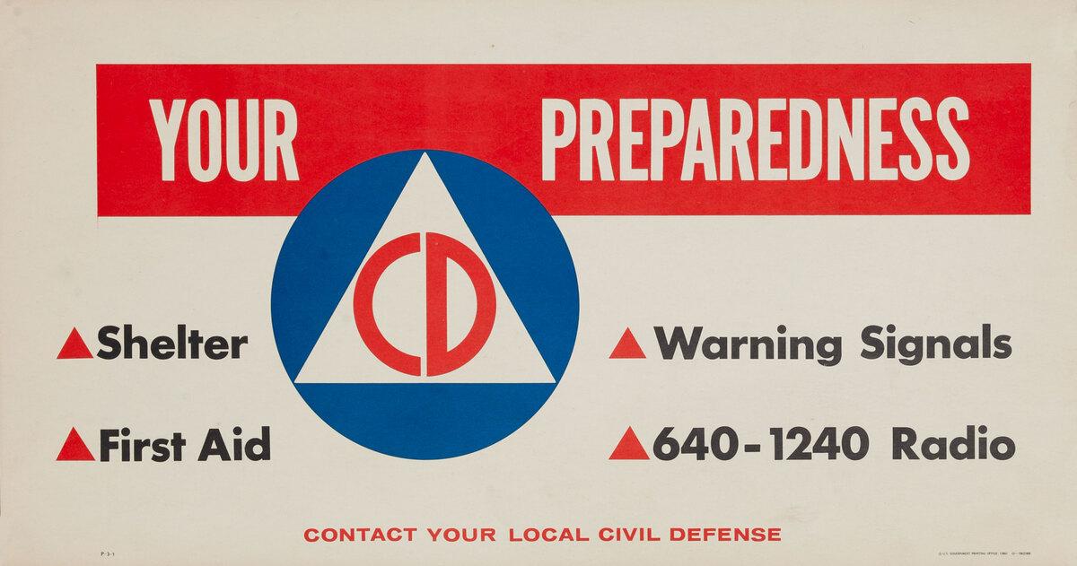 Original Vintage Civil Defense Poster Your Preparedness