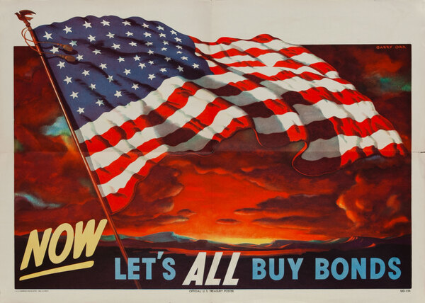 Original Vintage Buy Bonds US Flag Poster