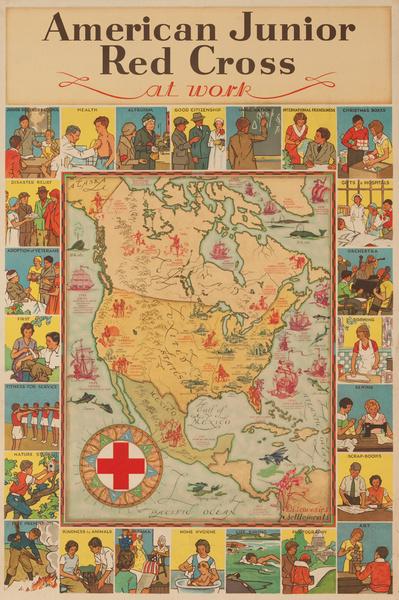 Original Vintage Junior Red Cross At Work Poster