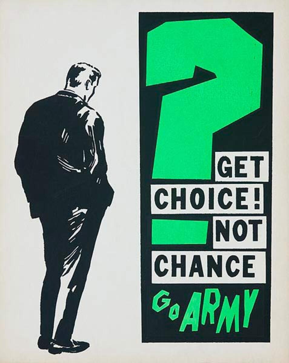 Get Choice Not Chance Go Army Original Korean Era Army Recruiting Poster