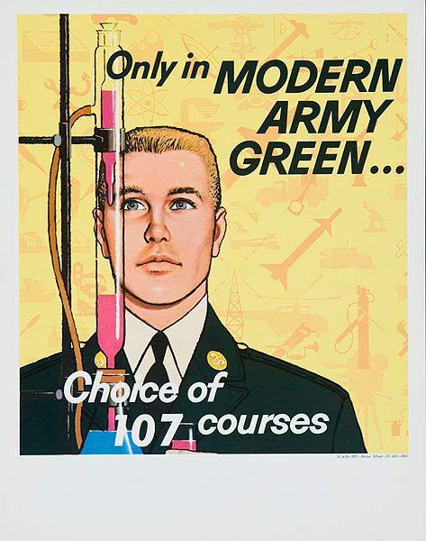 Modern Army Green Original Korean Era Army Recruiting Poster