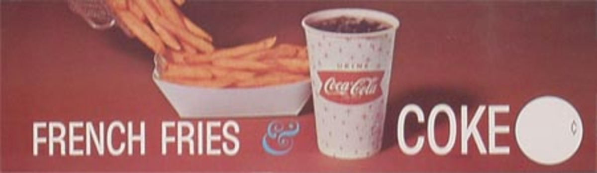 Original Vintage Coke Advertising Poster Coca Cola and Franch Fries