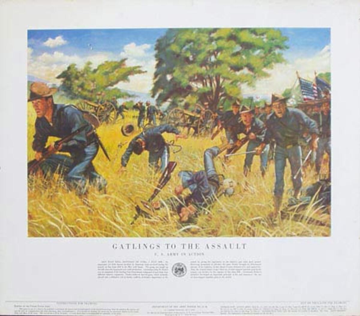 Gatlings to the Assualt U.S. Army in Action Original Vintage Army Propaganda Poster