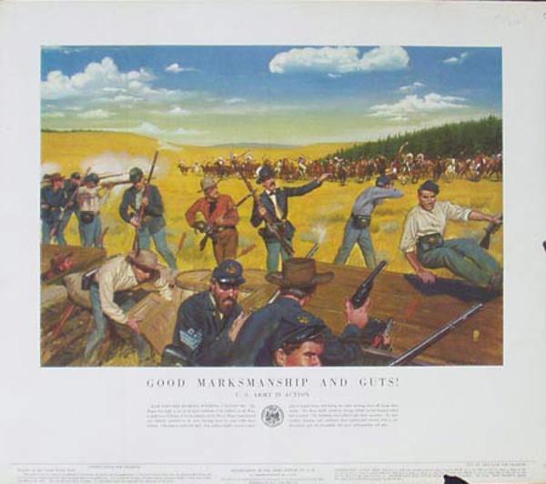 Good Marksmanship and Guts! U.S. Army in Action Original Vintage Army Propaganda Poster