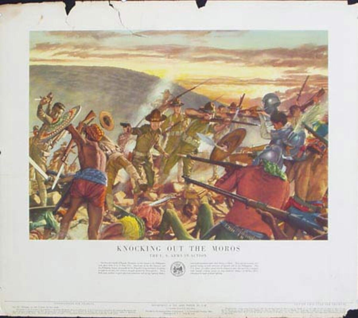 Knocking Out the Moros U.S. Army in Action Original Vintage Army Propaganda Poster