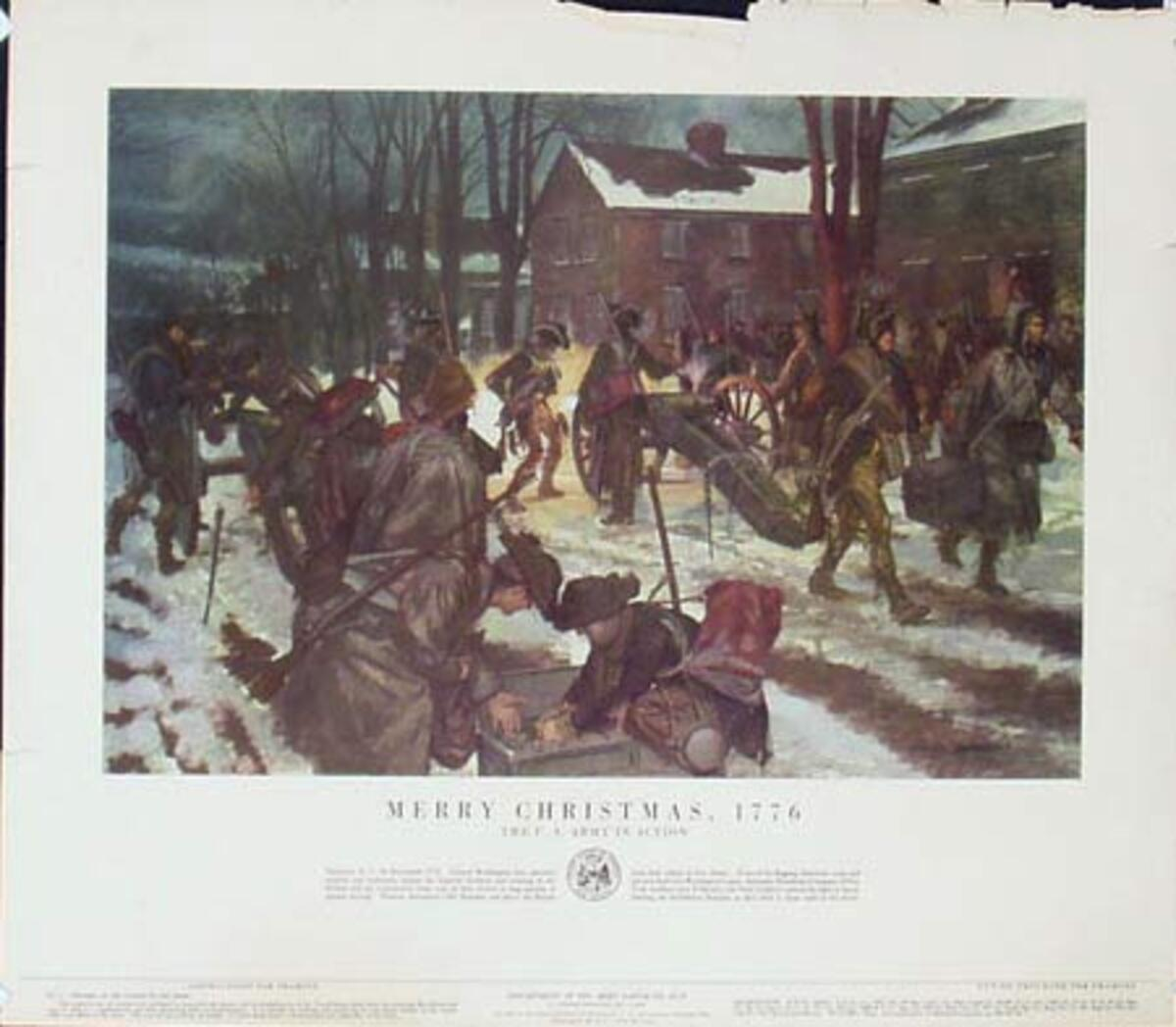 Merry Xmas 1776 U.S. Army in Action Original Vintage Army Propaganda Poster